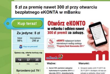 mBank sprzedaje ROR-y na Grouponie i daje 300 zł premii