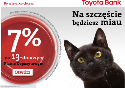 Wysoki procent na lokacie i nowe konto w Toyota Banku