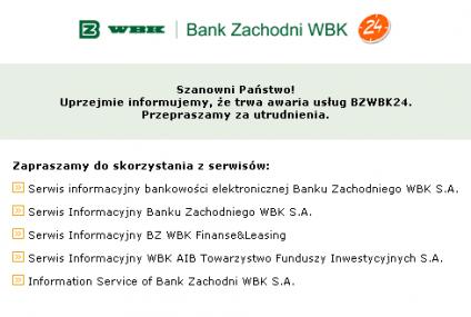 Awaria usług BZWBK24