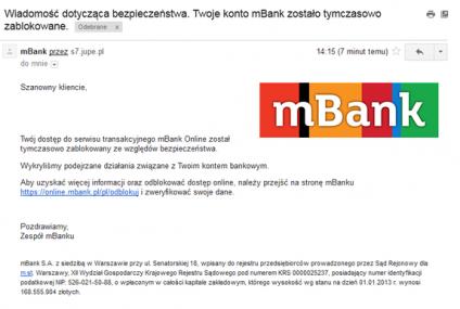 Złodzieje znów podszywają się pod mBank