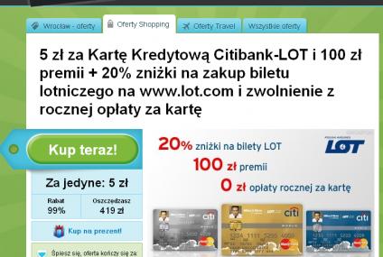 Karta kredytowa Citibank-LOT z 20-proc. zniżką na bilet lotniczy na Groupon.pl