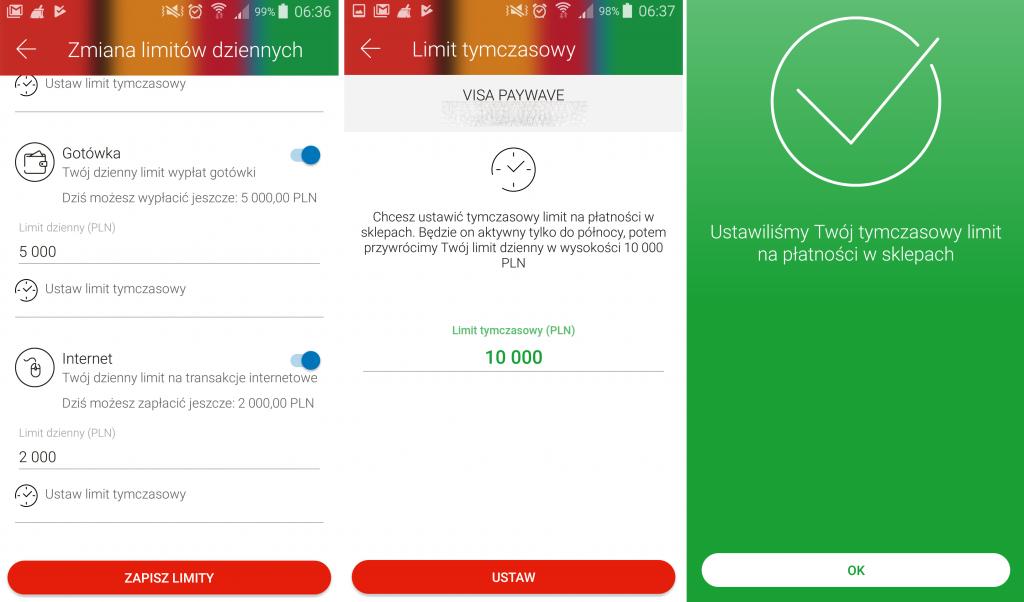 Nowość w aplikacji mobilnej mBanku - limity tymczasowe