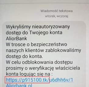 Alior Bank ostrzega przed SMS-ami z linkiem do fałszywej strony