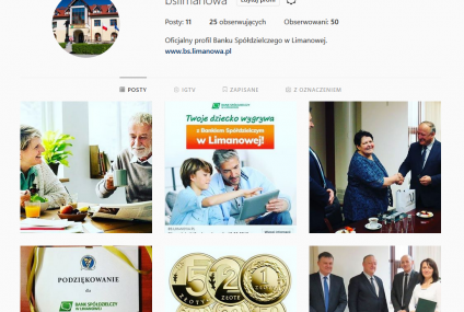 Bank Spółdzielczy w Limanowej na Instagramie