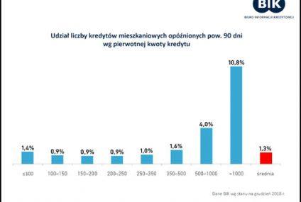 Szkodowość kredytów mieszkaniowych w zależności od kwoty kredytu. Dane BIK