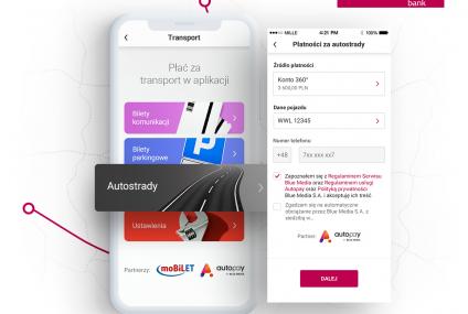 Automatyczna płatność za autostradę w aplikacji mobilnej Banku Millennium
