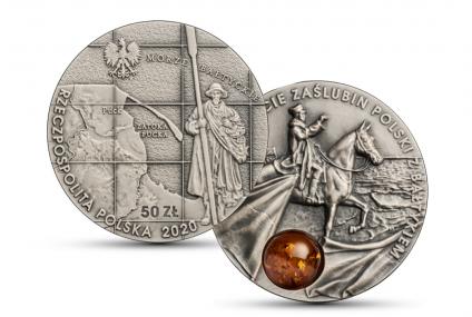 NBP wyda monetę z bursztynem na 100-lecie zaślubin Polski z Bałtykiem
