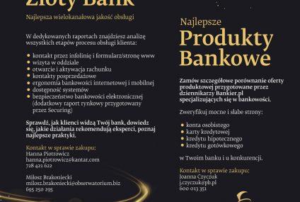 Złoty Bankier 2020 - zamów raport z wynikami swojego banku